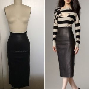 NWT Tracy Reese Leather High-Waist Pencil Skirt